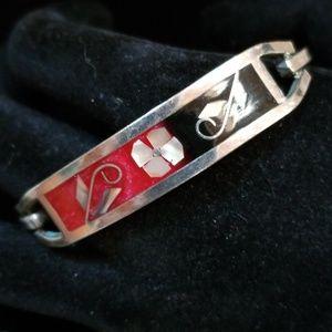 Vintage Alpaca Mexican Inlay MOP Abalone Bracelet